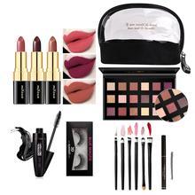Lipstick Eye Shadow Mascara Makeup Brush 3D False Eyelashes Eyebrow Pencil Set Full Beauty Makeup Set with Cosmetic Bag eye print makeup bag with wristlet