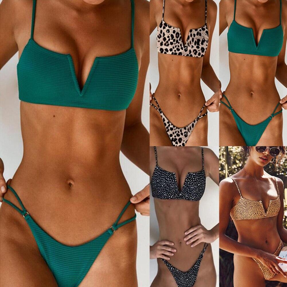 Hot Sexy Bikini Set Two Piece Swimsuit Women Solid Biquini Fashion Female Leopard Pattern Swimming Suit Beachwear Bathing Suit