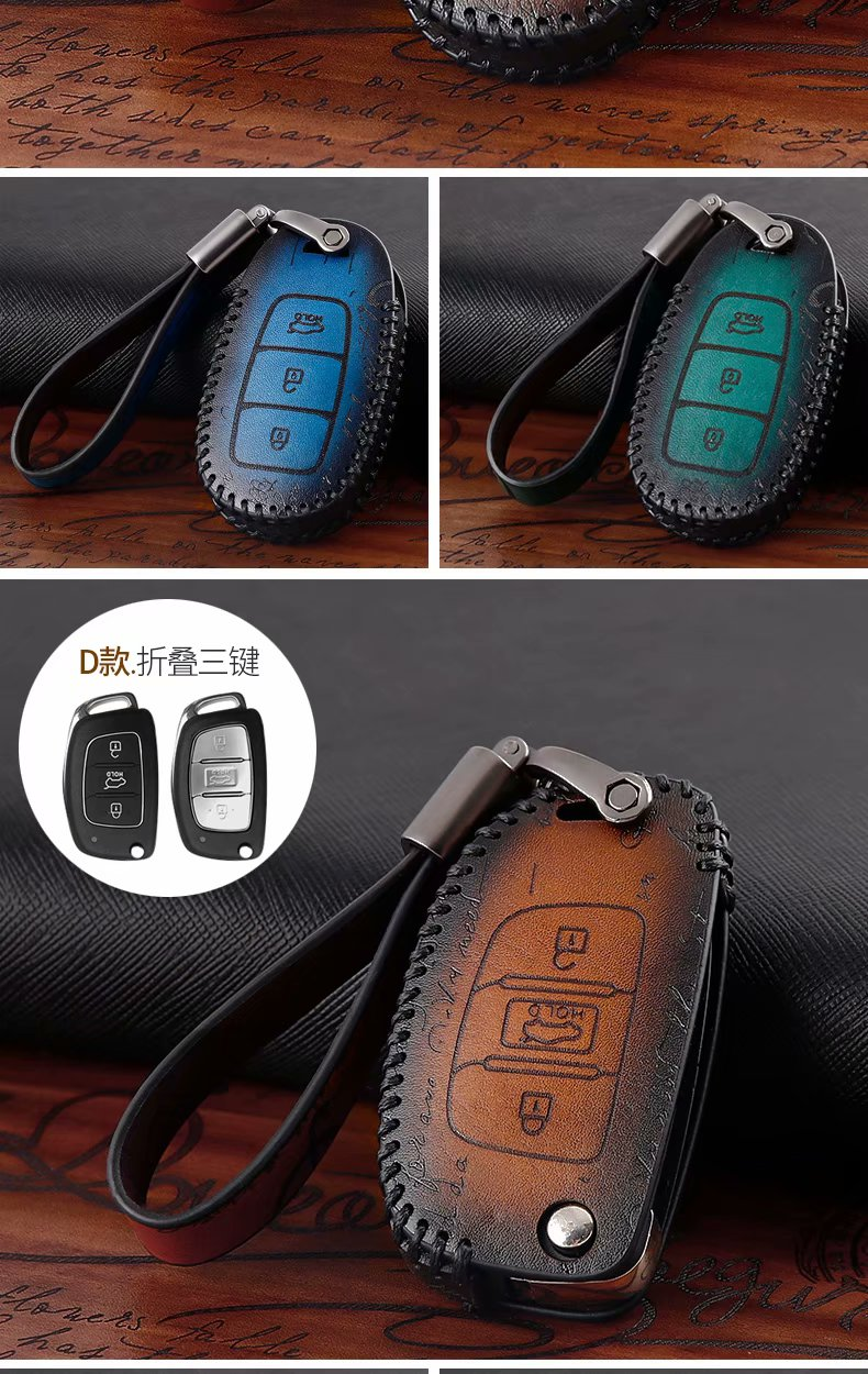 Promotion Natural leather Key Case Holder Cover For HYUNDAI 13-16 Elantra Coupe