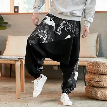 Chińskie tradycyjne ubrania dla mężczyzn spodnie z szerokimi nogawkami lato Plus rozmiar luźna z lenu bawełniane spodnie Harem chińskie spodnie męskie KK3330 tanie i dobre opinie EASTQUEEN CN (pochodzenie) COTTON Linen Suknem