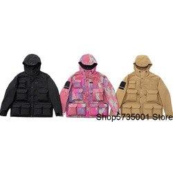 Sureme 2020ss куртка-карго Мужская Женская Мужская военная куртка с несколькими карманами ветровка мужская повседневная куртка с капюшоном