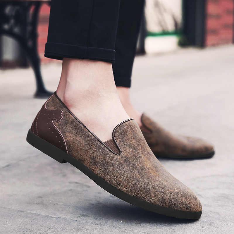 JKPUDUN Yaz Nefes erkek ayakkabısı Rahat Penny Loafer'lar