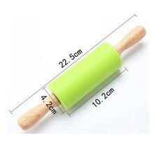 Силиконовая Скалка с деревянной ручкой или силиконовой ручкой кухонный инструмент для выпечки 4 цвета 23*4 см mattarello decorativo
