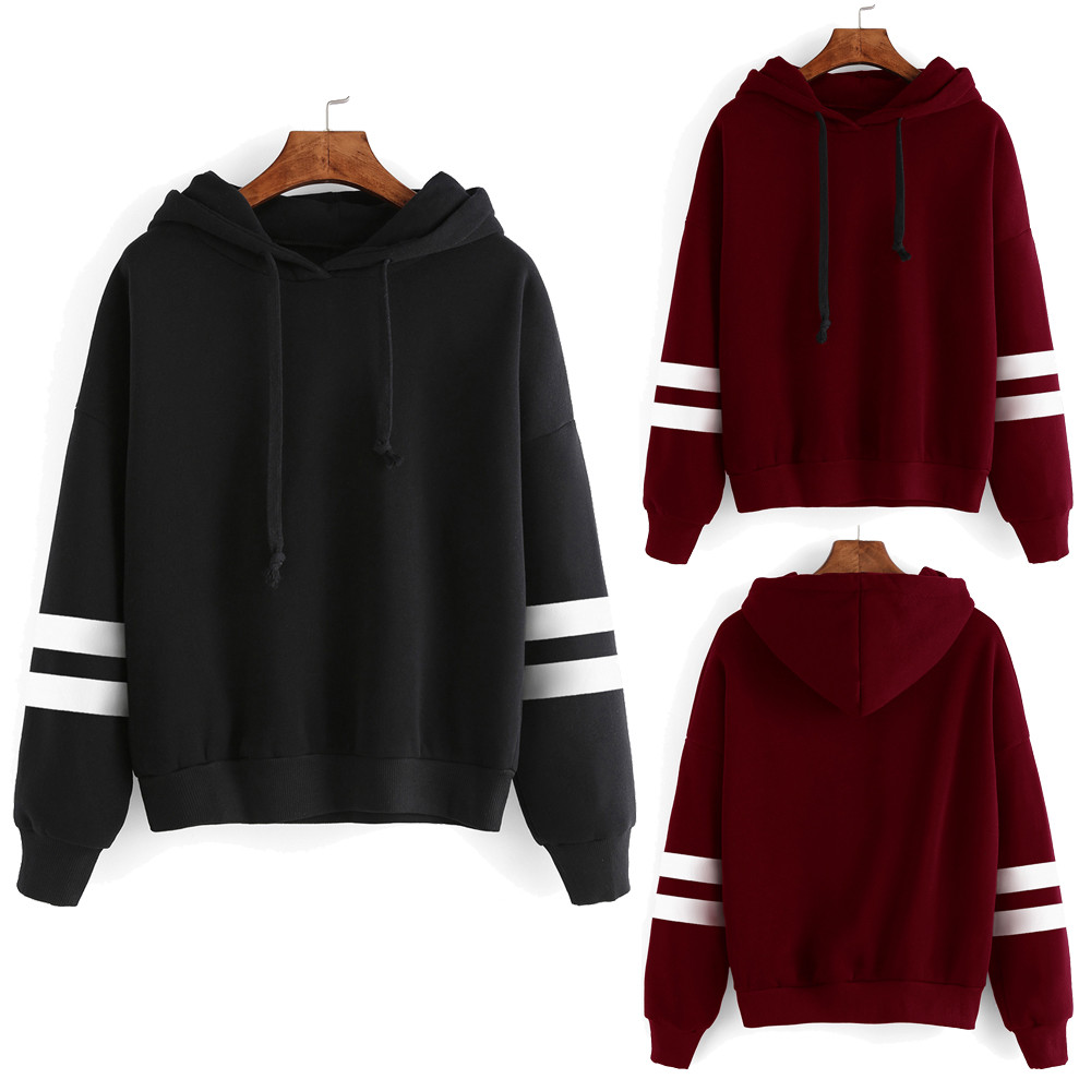 Jaycosin Fashion Womens Stripe Long Sleeve Hoodie Sweatshirt Chic Delicate Solid Color Sport Jumper Hooded Pullover Tops Blouse