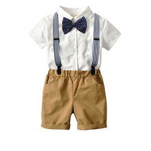 2pcs Toddler Kids Baby Boy Gentleman Outfit Formal Clothes Party Solid Bow T-shirt Top Romper+ Bib Shorts Cotton Set for Boys