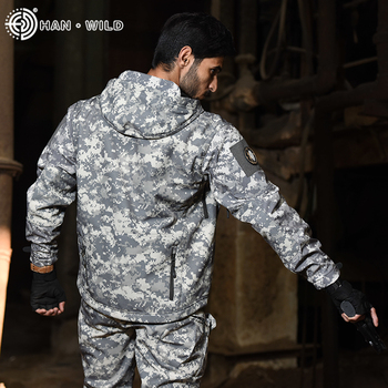 Hunting Jacket Airsoft Army Waterproof Tactical Jackets Men Soft Shell Camo Hunting Clothes Suit Shark Skin Military Coats+Pants 4