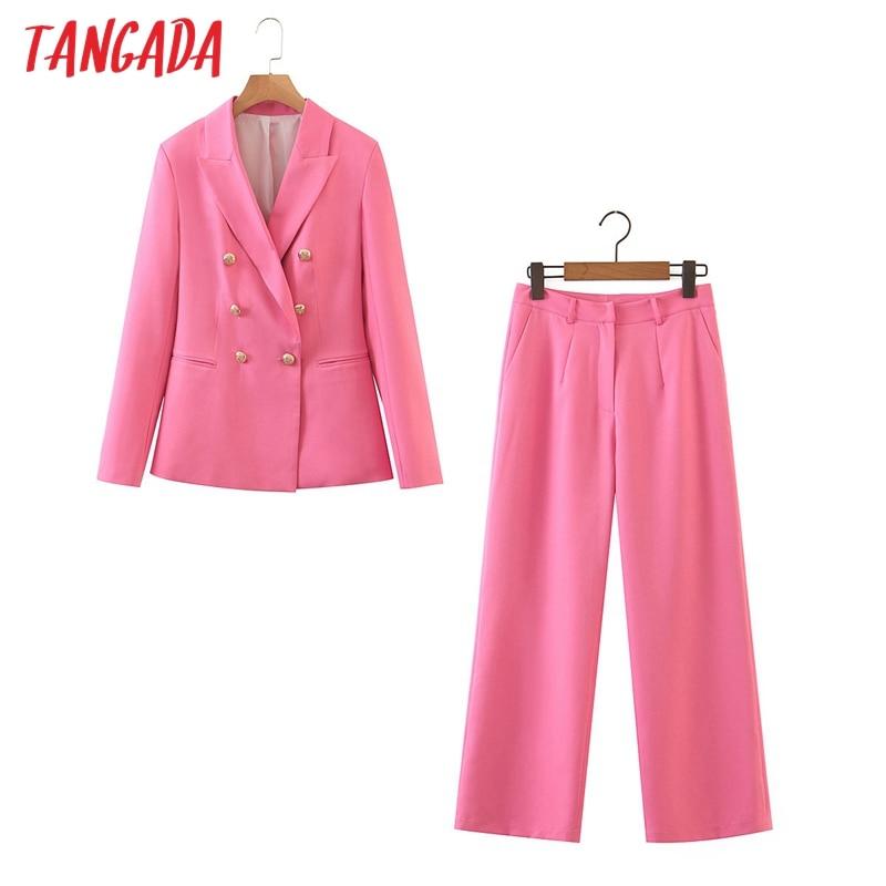Tangada women autumn hotpink blazer suit 2 piece set female elegant jacket ladies business blazer Pants Sets SL551