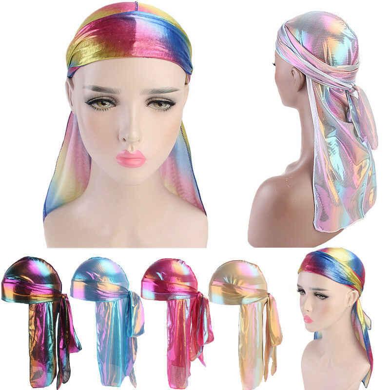 Lüks Unisex Erkekler Kadınlar Nefes Bandana Şapka Durag do doo du rag uzun kuyruk headwrap kemo kap saç aksesuarları