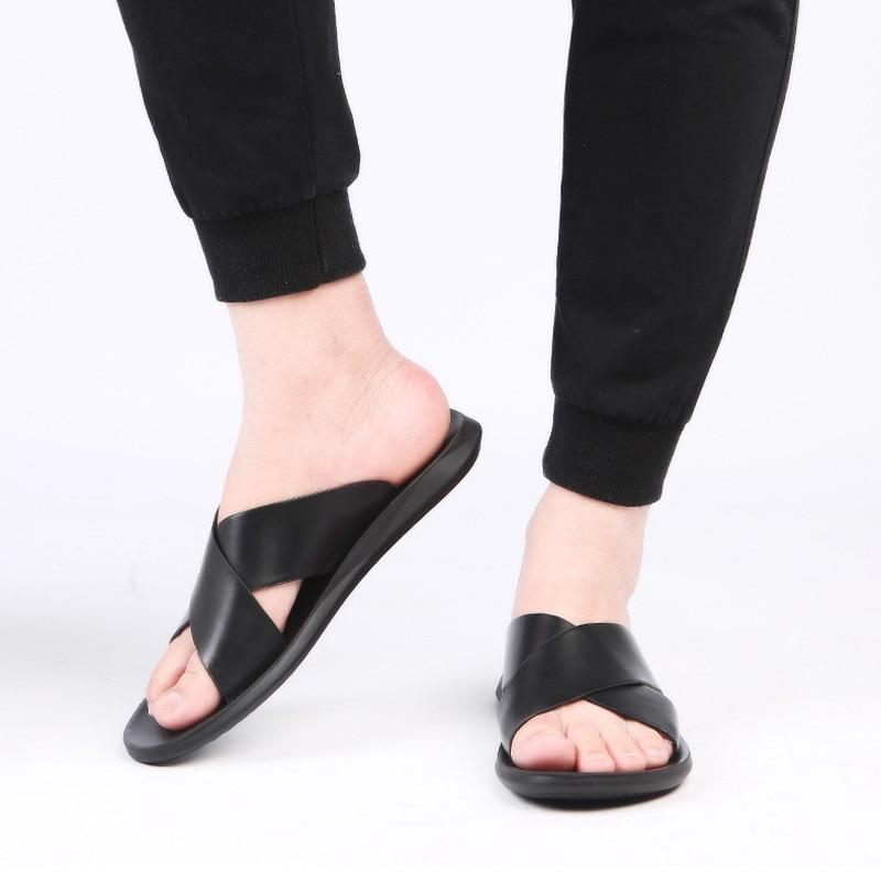 Merkmak 2020 Summer Sandals Men Leather Classic Roman Open-toed Slipper Outdoor Beach Rubber Summer Shoes Flip Flop Water Sandal