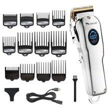 Professionale barbiere tagliatore di capelli trimmer capelli degli uomini LCD macchina di taglio di capelli elettrico titanium lama di taglio di capelli ricaricabile usb
