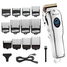 Profesyonel kuaför saç kesme makinesi erkekler saç düzeltici LCD elektrikli saç kesme makinesi titanium bıçak saç kesimi usb şarj edilebilir