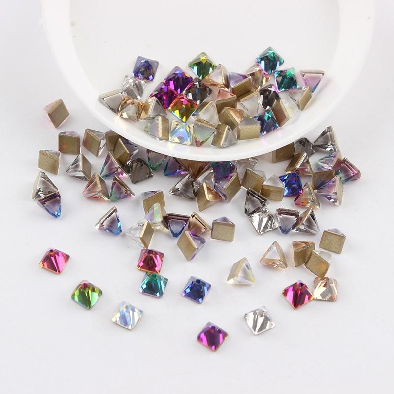 Все смешанные цвета, 30 шт, стразы для дизайна ногтей, сделай сам, без горячей фиксации, стеклянные камни для ногтей, драгоценные камни для 3D украшения для ногтей - Цвет: 4mm square cone
