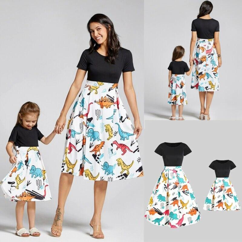 Filles robe 2020 famille correspondant tenues mère fille robes dinosaure imprimé maman et moi vestidos enfant parent enfant tenues