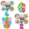 Набор воздушных шаров Cocomelon с цифрами, декор для вечеринки в честь рождения ребенка, латексные шары, фольгированные шары