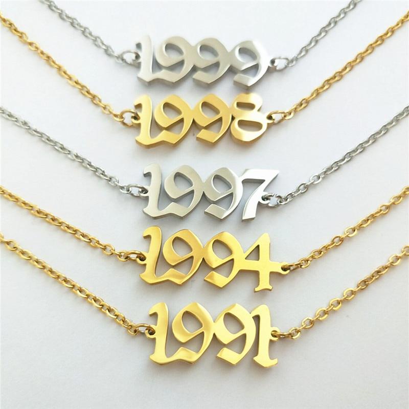 1991 1992 1993 1994 1995 1996 1997 1998 1999 2000 Year of Birth Ankle Bracelet Old English Enkelbandjes Sieraden Number Anklets