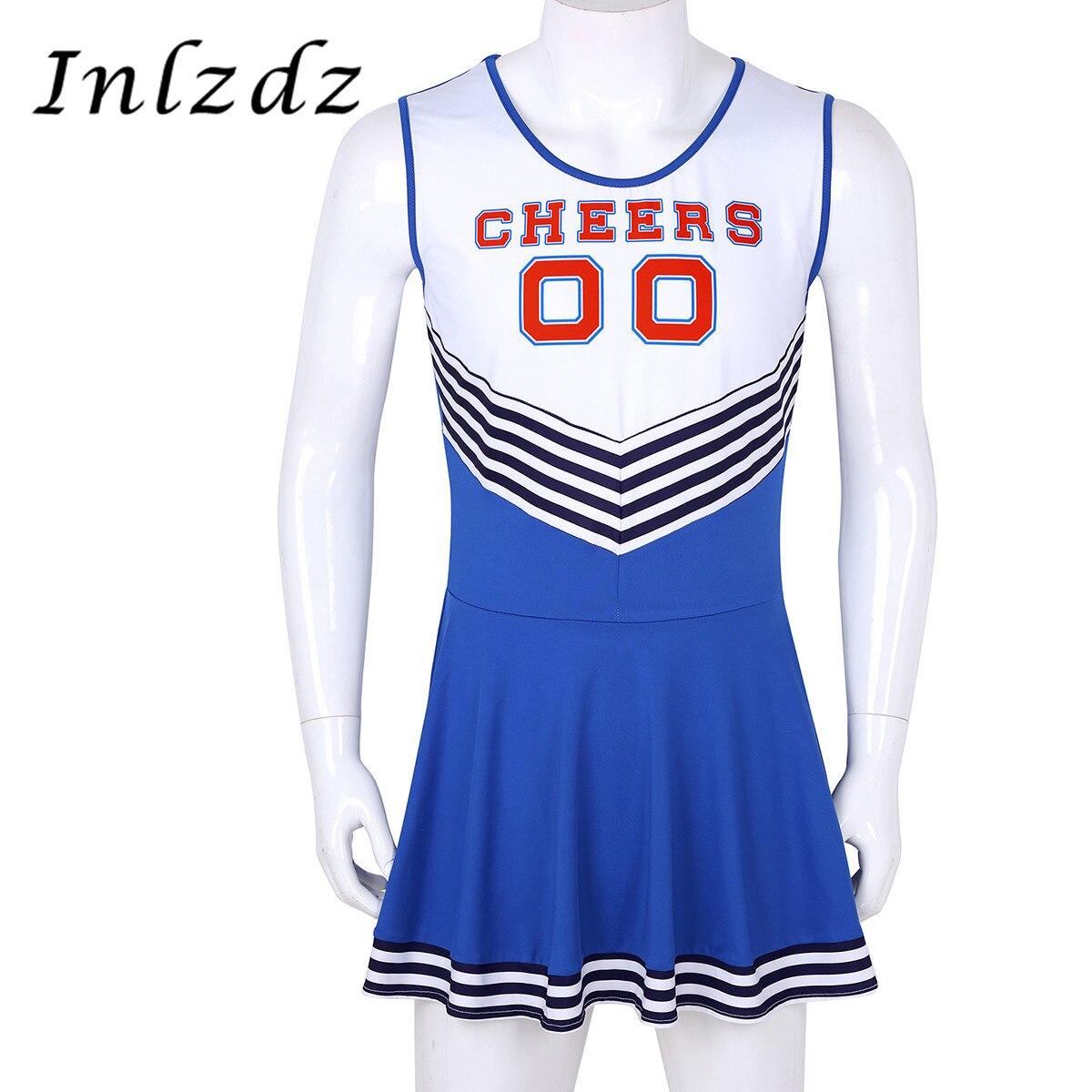 Men Sissy Charming Cheerleader Cosplay Costume Dress Scoop Neck Sleeveless Pleated Fancy Cheerleading Sissy Sexy Short Dress