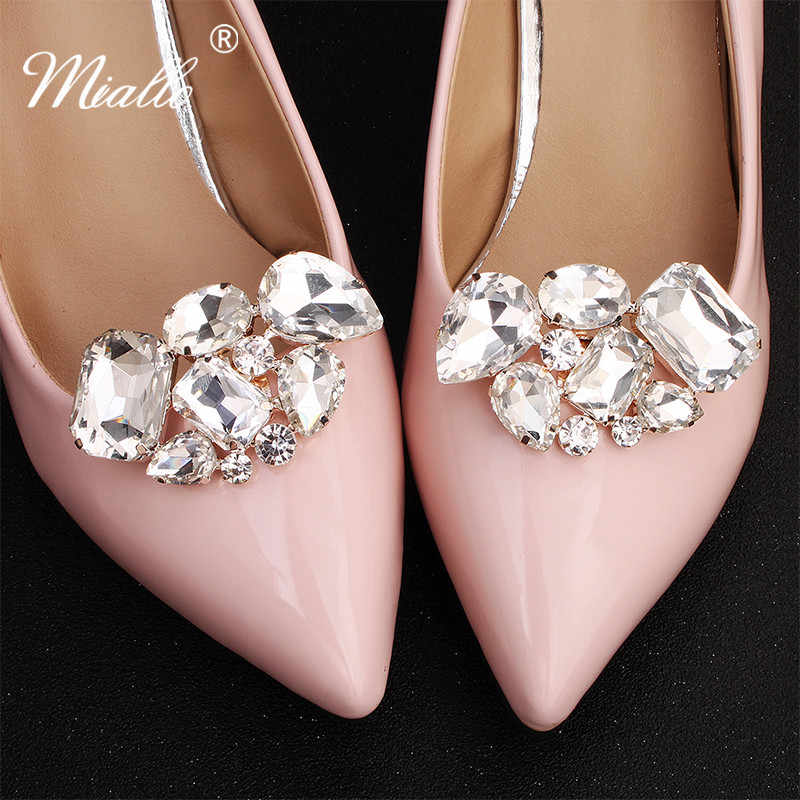 Miallo Cor Prata Fashion Grande Pedra de Cristal Sapatos de Casamento Clips Sapato De Noiva Fivela para As Mulheres Acessórios de Noiva de Salto Alto