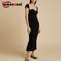 Tpmaccool Luxury French Designer Women Retro Dresses Sexy Bra Tight Short Sleeve Knitted Midi Party Sexy Bodycon Sweater Dress
