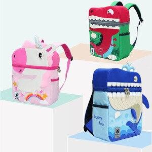 Image 3 - Kid Unicorn Backpack Cute 3D Cartoon Dinosaur Anti lost Printed Kindergarten orthopedic School Bag for Girl Boy Children Mochila