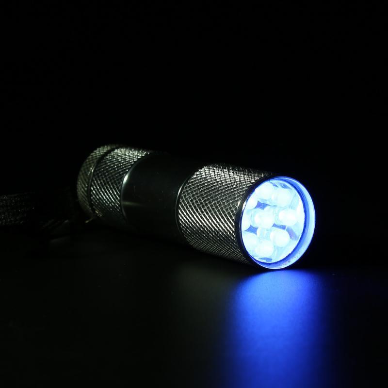 Hot Cool MINI 9 LED Portable Aluminum Ultra Violet UV Blacklight Portable Flashlight Torch Light Lamp Silver Hot