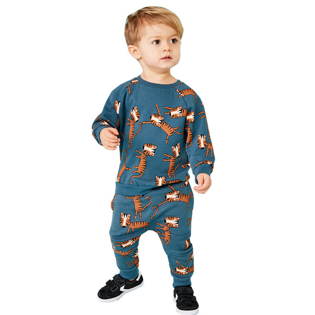 Children Winter Clothes Baby Boys Cartoon Clothing Sets Cute Rabbit Printed Warm Sweatsets for Baby Boys Girls Kids Clothes 3