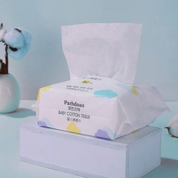 Baby Cotton Tissue Disposable Face Towel for Sensitive Skin Dry and Wet Use Cotton Wipes Disposable Cleansing Towel 80pcs/bag недорого