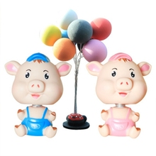 2pcs Pig Crafts Lovely Resin Nodding Decorative Shaking Head Pig Ornament For Car home Decor DM-8 ebony carved pig ornaments solid wood zodiac pig home feng shui living room decorations mahogany carving pig crafts