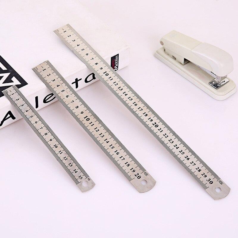 Regla recta de Metal de acero inoxidable de 15/20/30cm y 6/8/12 pulgadas, regla recta de precisión de doble cara, suministros de dibujo de papelería para oficina y aprendizaje