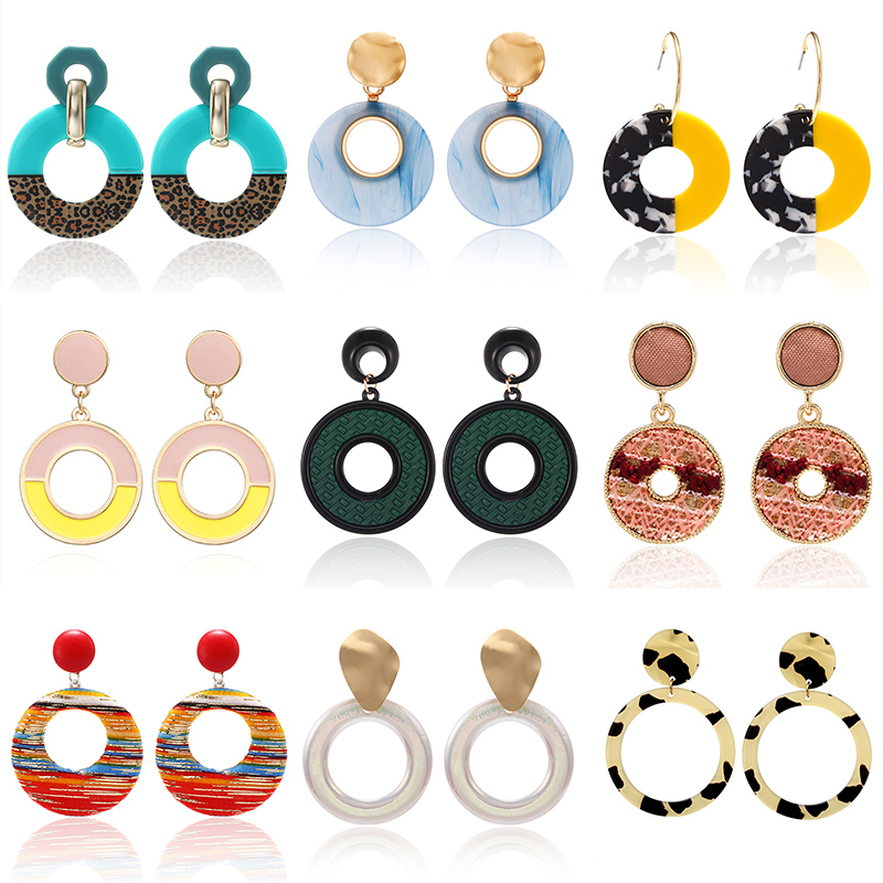 Fashion Acrylic Irregular Pendant Drop Earrings For Women Korean Print Acetic Acid Geometric Long Dangle Statement Earrings