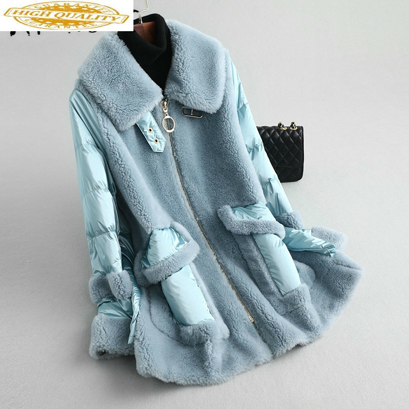 Real Fur Coat Women 100% Wool Real Fur Jacket Women Clothes 2020 Spliced Sheep Shearling Winter Coat Women KQN59213 YY1565