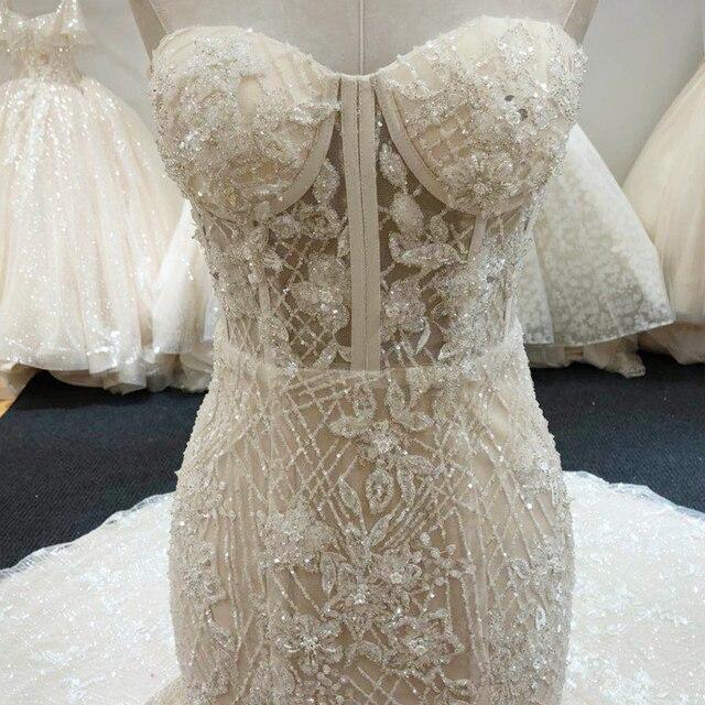 SL-6229 New Arrival Crystal Bling Bling Mermaid Wedding Dresses 2020 Full Beading Bridal Wedding Gowns 3