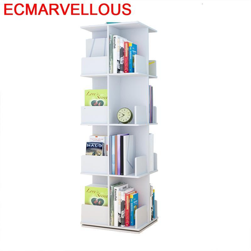 Shelving Estanteria Mueble De Madera Rotate Rotatable Bookcase Home Furniture Book Rack Libreria Scaffale Bookshelf Case