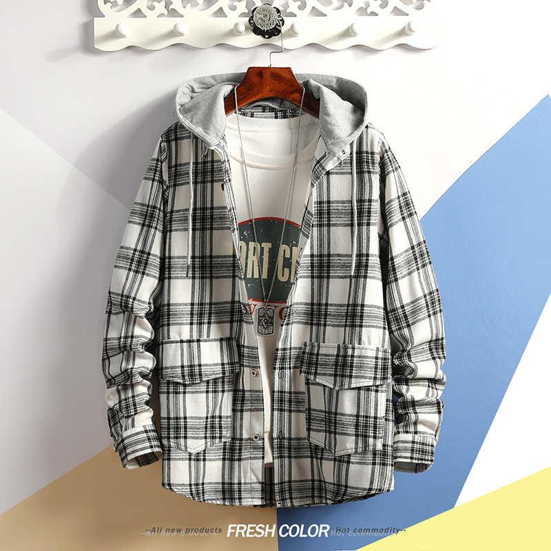 한국 스타일 캐주얼 가디건 2020 봄 가을 락 펑크 까마귀 격자 무늬 셔츠 남성용 양털 힙합 Streetwear Clothes
