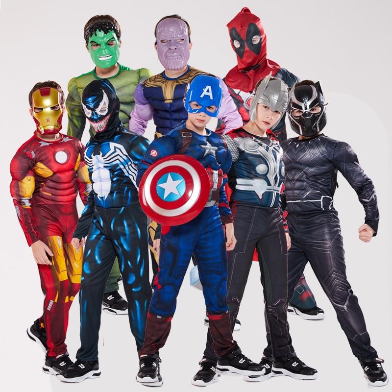 Les Avengers enfants super-héros spiderman capitaine amérique fer homme panthère Thor Cosplay Muscle vêtements déguisement d'halloween pour les enfants
