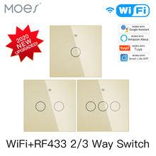 NEUE Verbesserte WiFi Smart RF433 Touch Schalter 2/3 Weg Smart Leben/Tuya App Control, alexa Google Startseite Voice Control 1/2/3 Gang