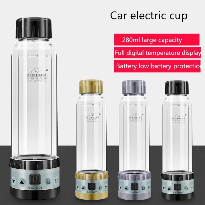 12 V/24 V voiture bouilloire chauffe-eau Portable voyage bouteille chauffe-eau tasse de chauffage électrique 280ML eau bouillante bouilloire Auto accessoire