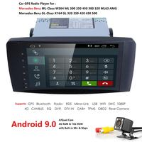 2 Din 9 Inch Android 9.0 Car NO DVD Player For Mercedes/Benz/ML/GL CLASS W164 ML350 ML500 GL320 Can bus 4G Wifi GPS Free Camera
