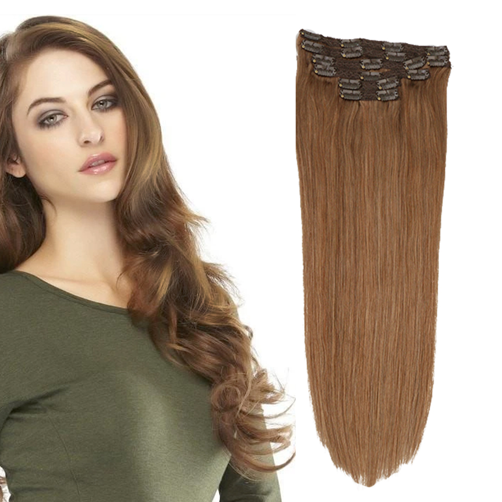 Toysww Human Hair Extensions Straight 6 PcsSet Remy European Clip Ins Hair 100 120 Gram Color #8 Good Quality