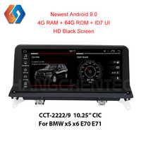 Nuevo viene Android 9,0 64G rom pantalla negra para BMW x5 x6 E70 E71 NIC función incorporada CarPlay Bluetooth WiFi coche GPS Multimedia