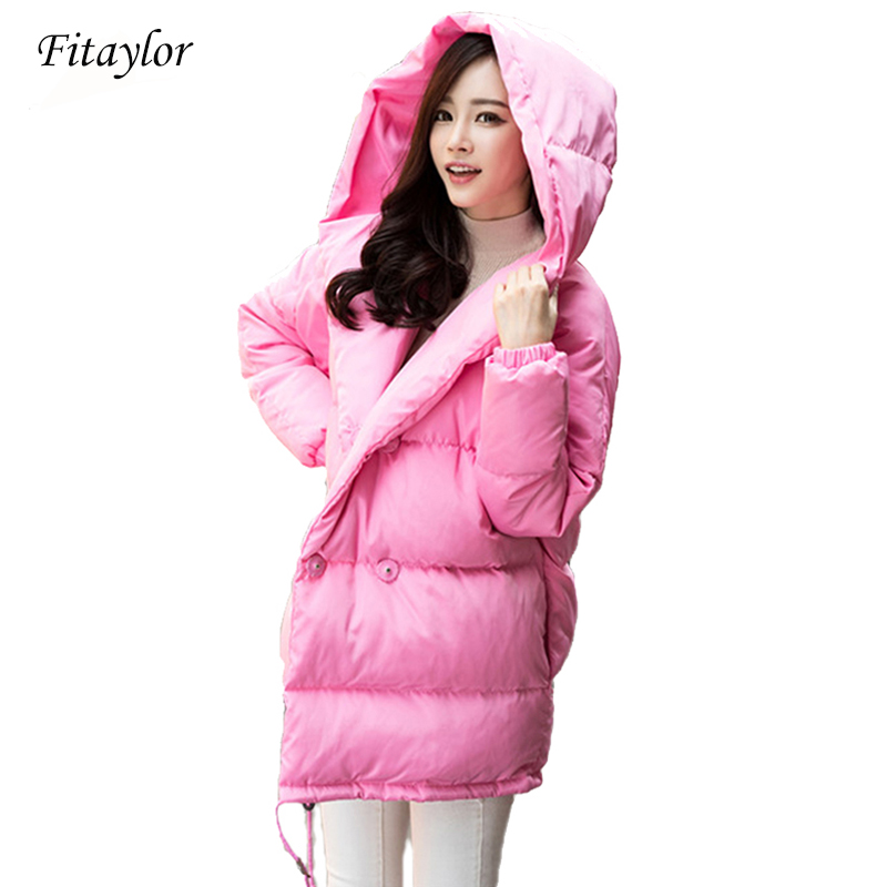 Kadın Giyim'ten Şişme Montlar'de Kış kadın gevşek fit ceket moda sevimli parkas kapşonlu ceket palto orta rahat artı boyutu ördek aşağı palto snowear'da  Grup 1