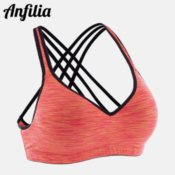 Anfilia Women Yoga Sports Bra Medium Impact Floral Print Backcross Yoga Bra Running Workout Bra Fitness Anti-sweat Sports Top medium impact hanging neck front design drawstring sports bra in grey