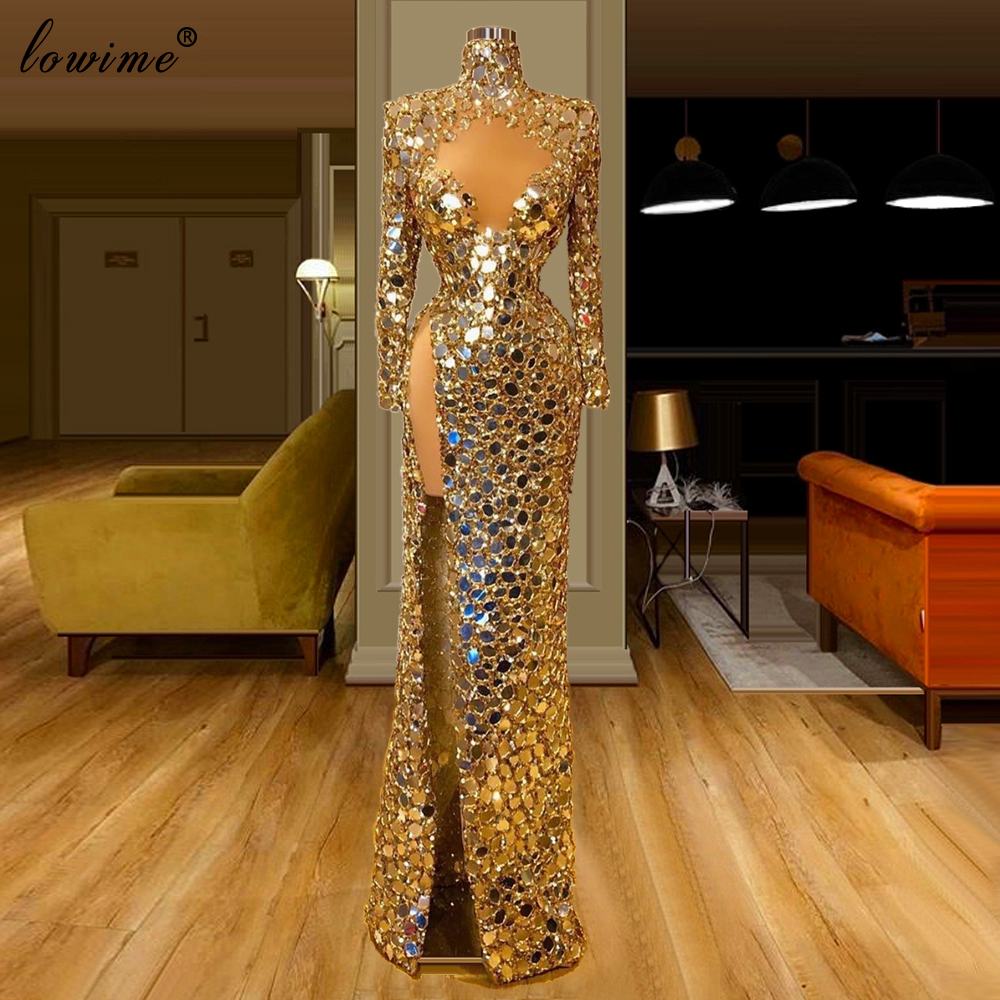 Dubai Muslim Shiny Gold Prom Dresses Long Mermaid Formal Evening Dresses Woman Party Night High Neck вечернее платье Gowns Robe