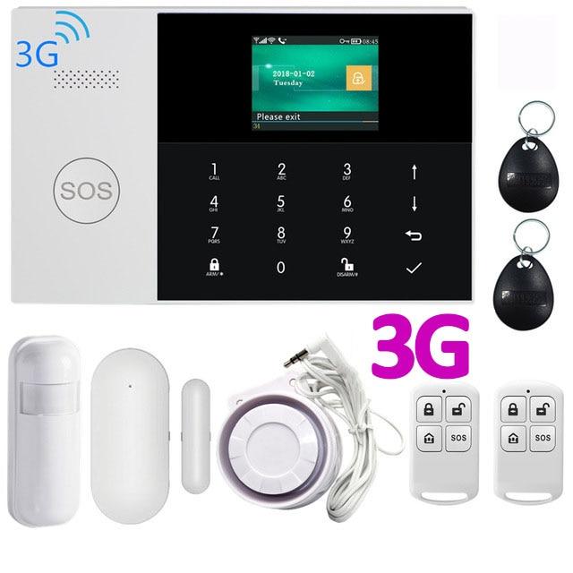 3G WIFI GSM GPRS Sistema de Alarme APP Controle Remoto com Tela Colorida de 433MHz Sistema de Alarme da Segurança Home do Assaltante 9 idiomas Mudar