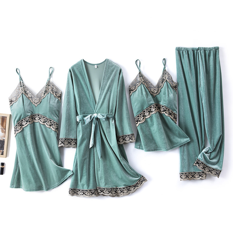 2020 Gold Velvet 4 Pieces and 5 Pieces Warm Winter Pajamas Sets Women Sexy Lace Robe Pajamas Sleepwear Kit Sleeveless Nightwear 5
