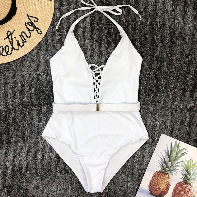 Одноцветный купальный костюм с бретельками, модель 2020 года, сексуальный купальник для женщин, с поясом, с высокой посадкой, пляжная одежда, u-... 69