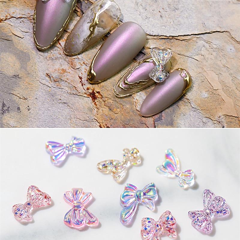 8 шт. Японские 3D прозрачные розовые фиолетовые ногти с бантом шпильки для ногтей детали для украшения ногтей для маникюрного салона