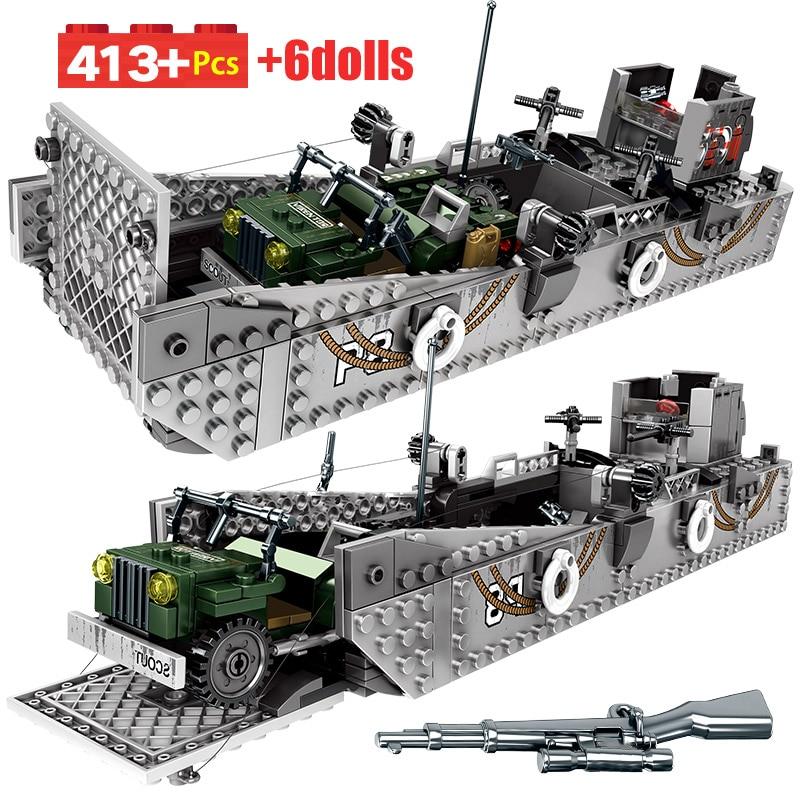 Military Fight Landing Ship Trailer Model Building Blocks For Legoing WW2 Tank City Police Truck Soldier Bricks Toys For Boys