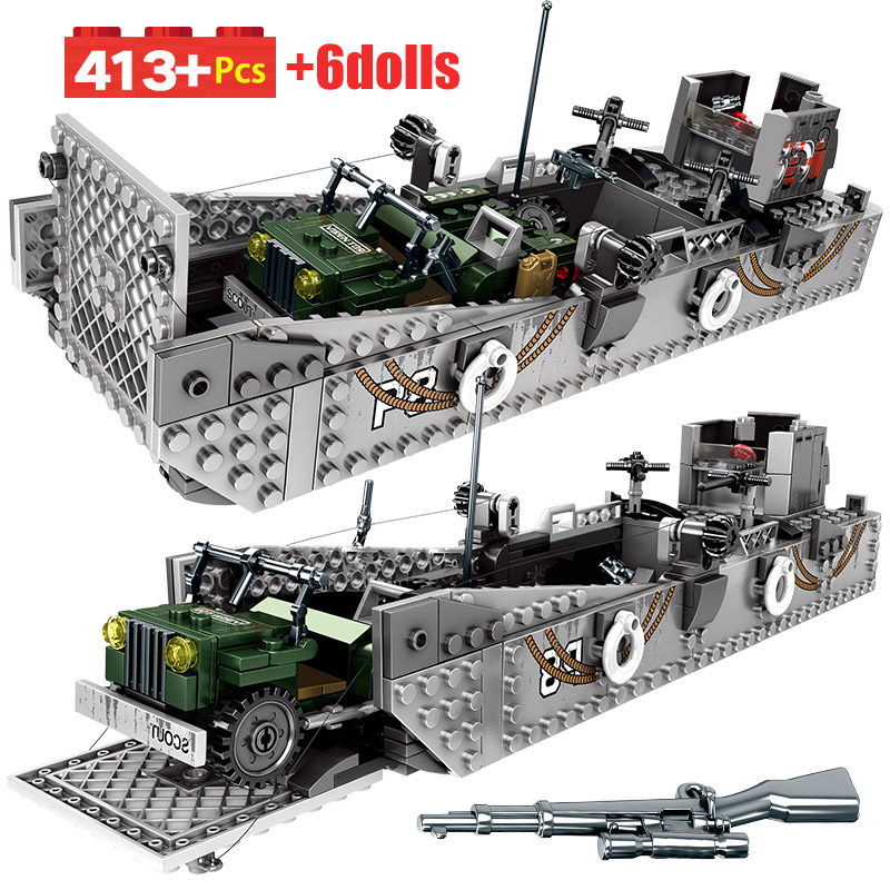 SEMBO Military Fight Landing Ship Trailer Model Building Blocks WW2 Tank City Police Truck Soldier Bricks Toys For Boys