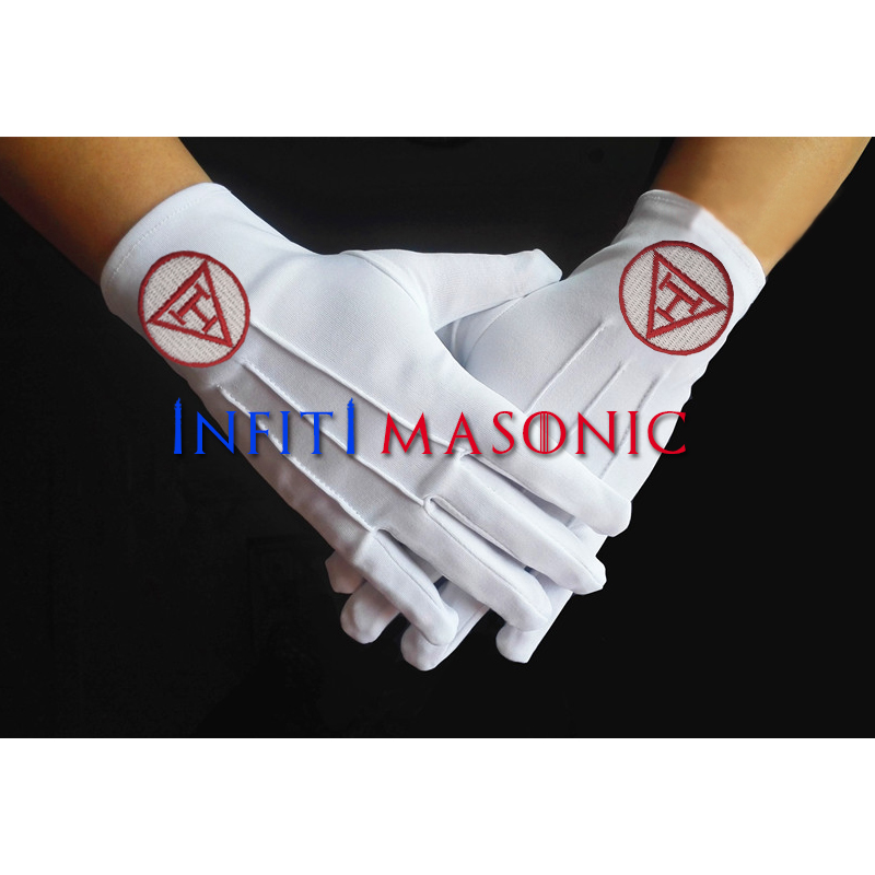 New White Tuxedo Gloves Popular Gloves Men's High Quality Polyester Masonic Gloves Embroidery Logo