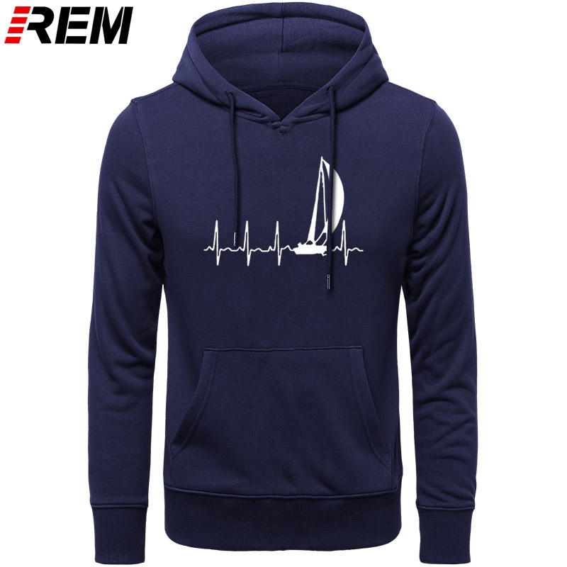 REM Hoodies Sailing SAILING IN A HEARTBEAT  Graphic Cute Cotton Long Sleeve Mens Hoodies, Sweatshirts